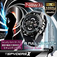 腕時計型カメラ「赤外線暗視/内蔵16GB/フルHD録画/高音質マイク・ボイスレコーダー/黒」